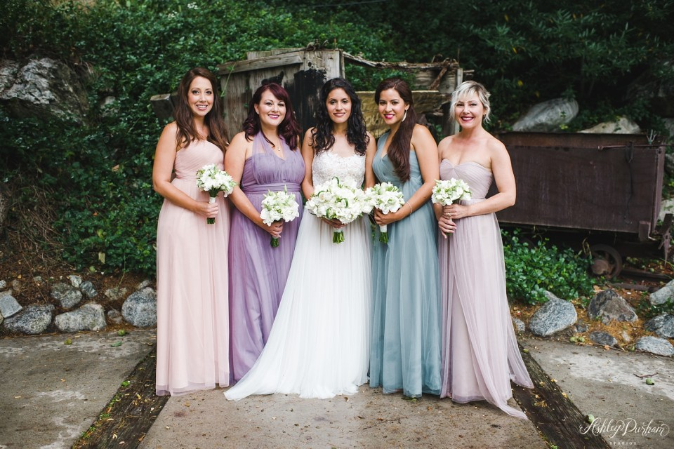 Green mountain ranch weddings, multicolored bridesmaid dresses, tulle wedding dress, tulle bridesmaid dresses