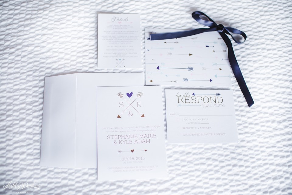 Green Mountain Ranch Wedding, arrow invitation, wedding invitation with arrows
