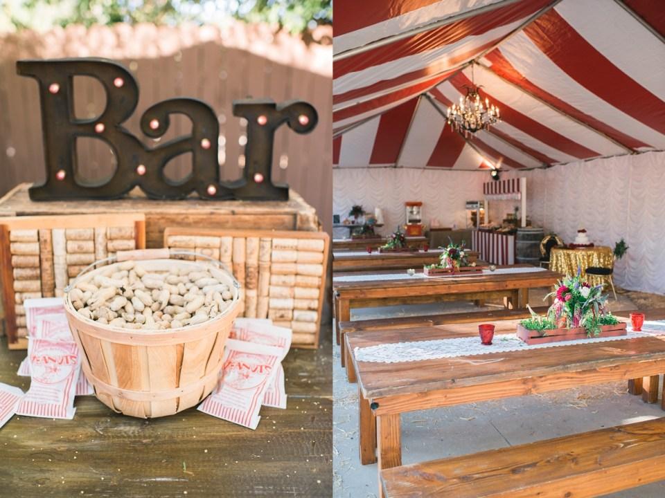backyard vintage carnival wedding, circus wedding decor, carnival wedding decor, vintage wedding decor, DIY wedding, serve yourself bar at wedding, farmhouse table at wedding