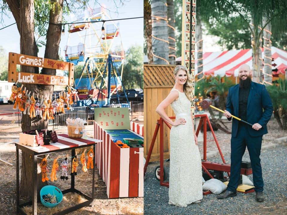 backyard vintage carnival wedding, DIY circus games