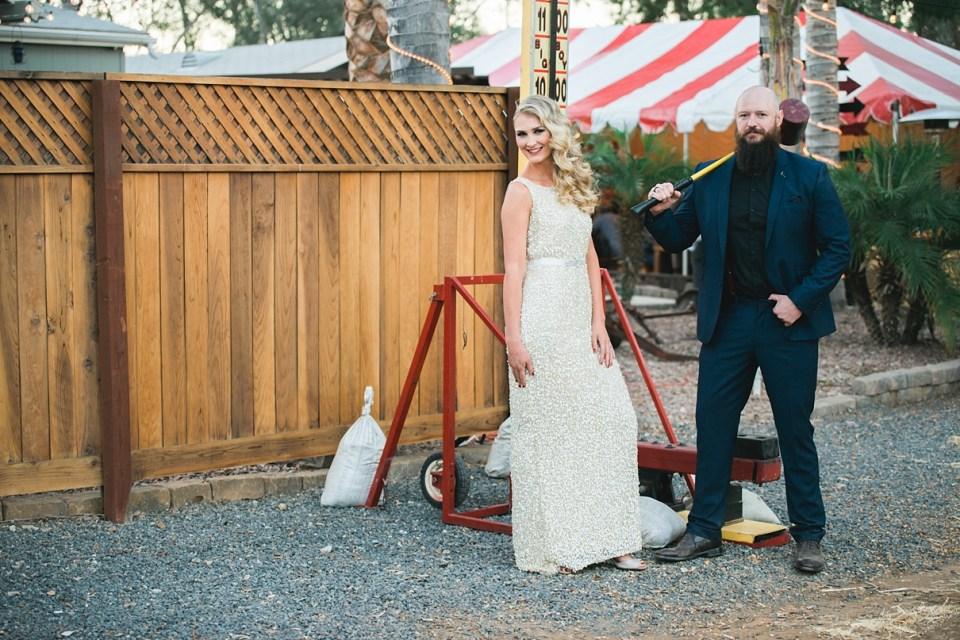 backyard vintage carnival wedding, circus wedding