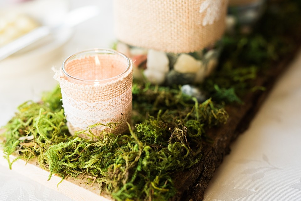 DIY moss and candle center pieces
