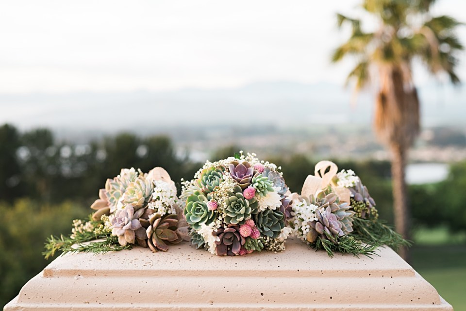 pink green rustic succulent babys breath bouquets for weddings