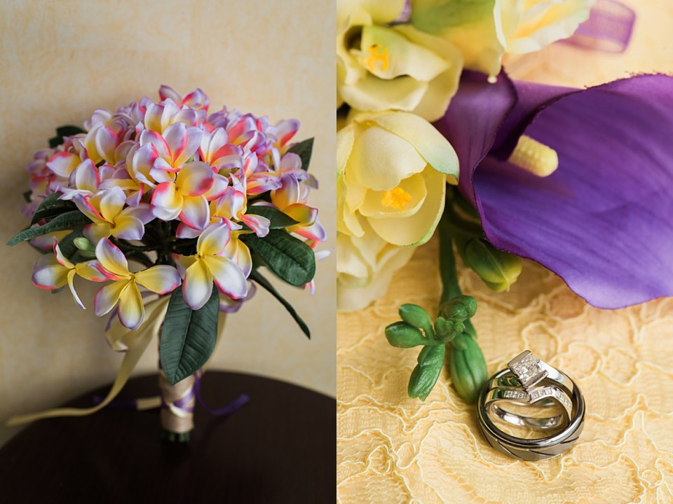 purple and yellow wedding details