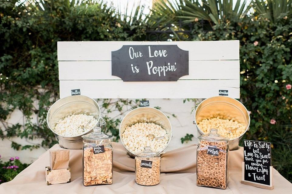 popcorn station wedding, our love is popping, easy DIY food stations at weddings