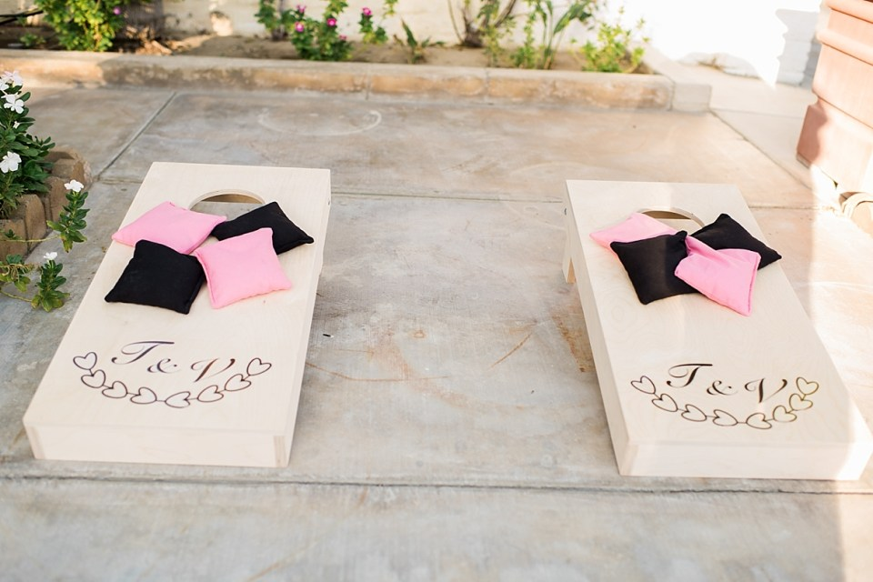 indio wedding photographer, palm springs wedding photographer, DIY games at weddings, corn hole games for wedding