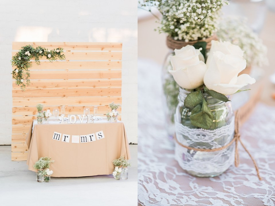 pallet backdrop, DIY pallet sweetheart table, rustic sweetheart table