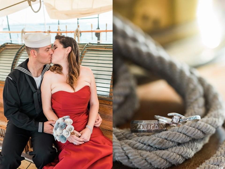 red wedding gown, san diego bride, san diego navy wedding, navy groom, boat wedding, nautical wedding