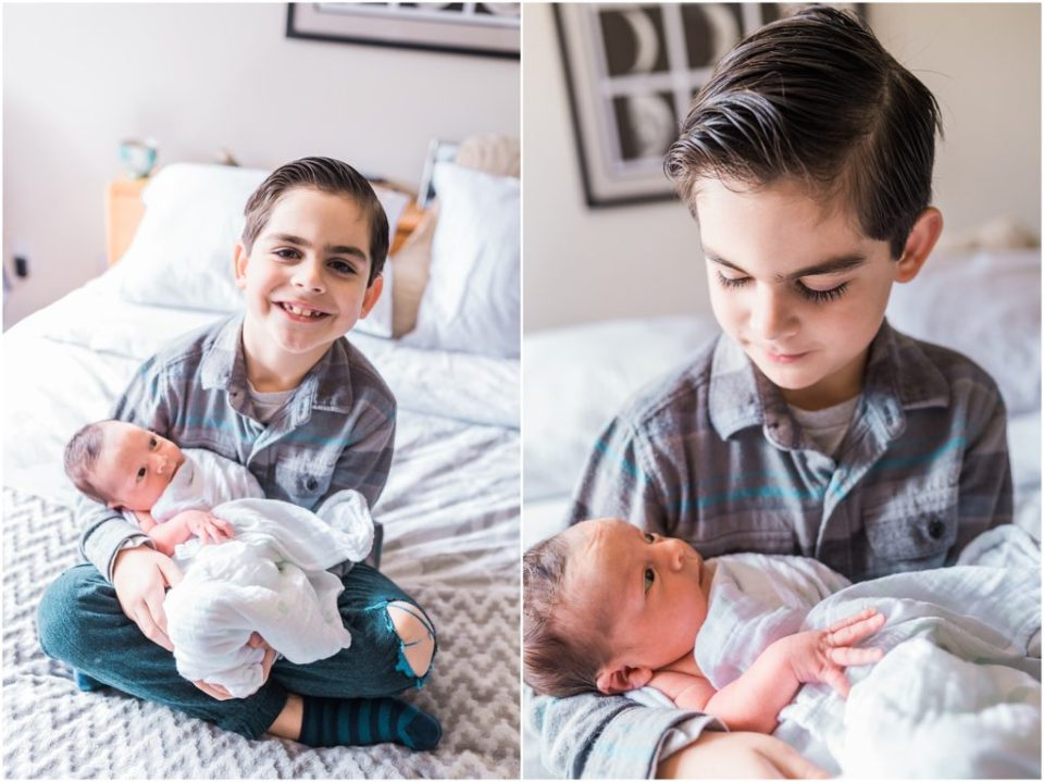 proud older brother with newborn brother