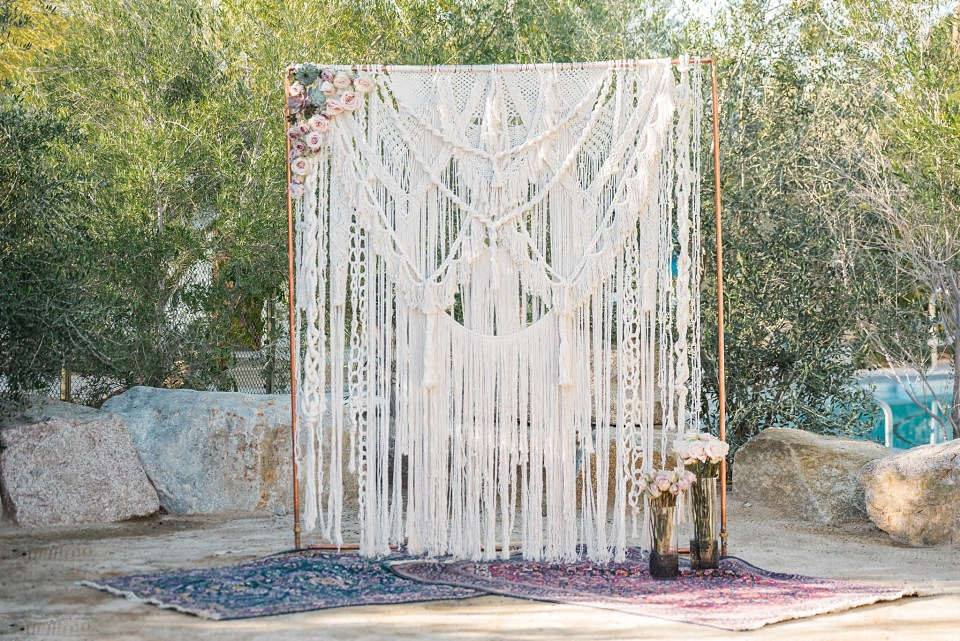 DIY macrame ceremony backdrop