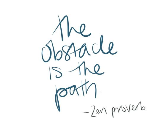 the obstacle is the path hand lettering