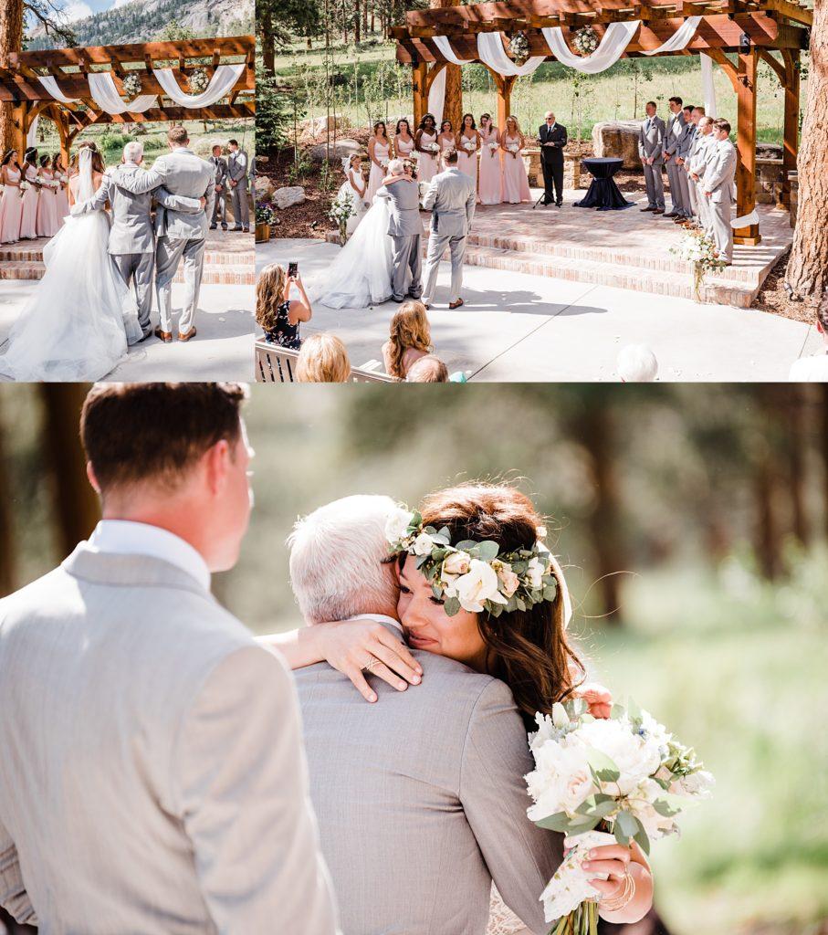 bride hugging father at della terra wedding