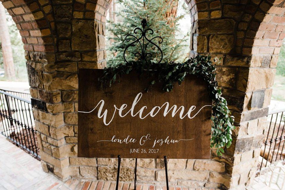 wood calligraphy wedding welcome sign