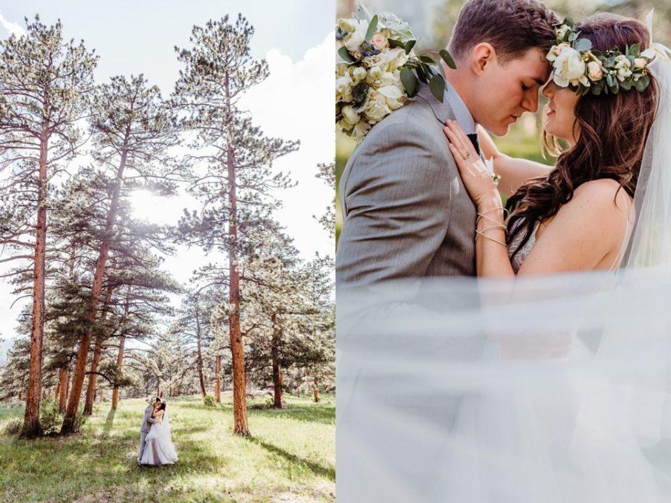 bride and groom wedding veil photo estes park wedding