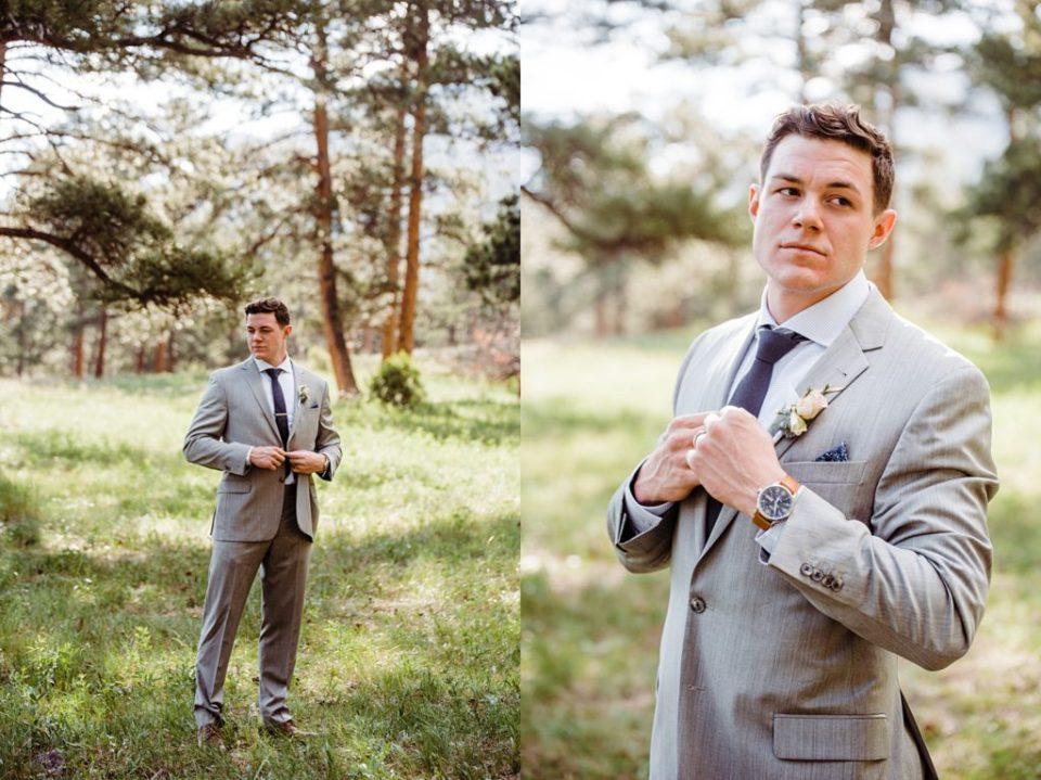 groom adjusting tie outside