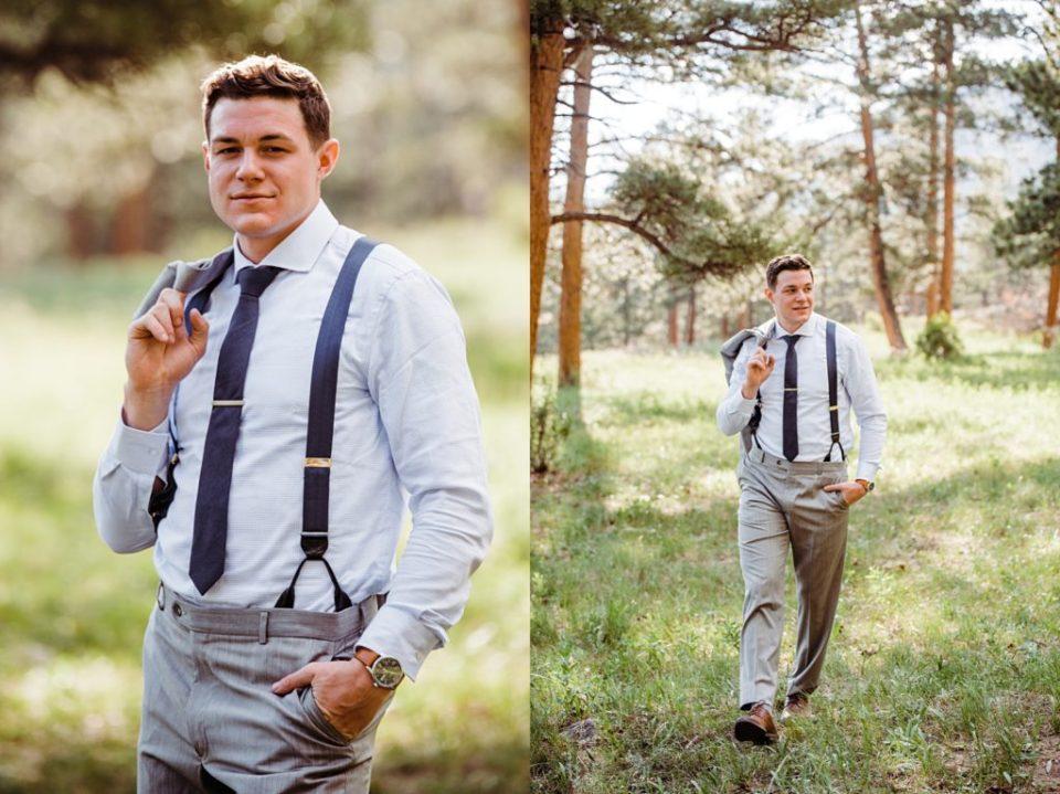 rocky mountain wedding groom photos
