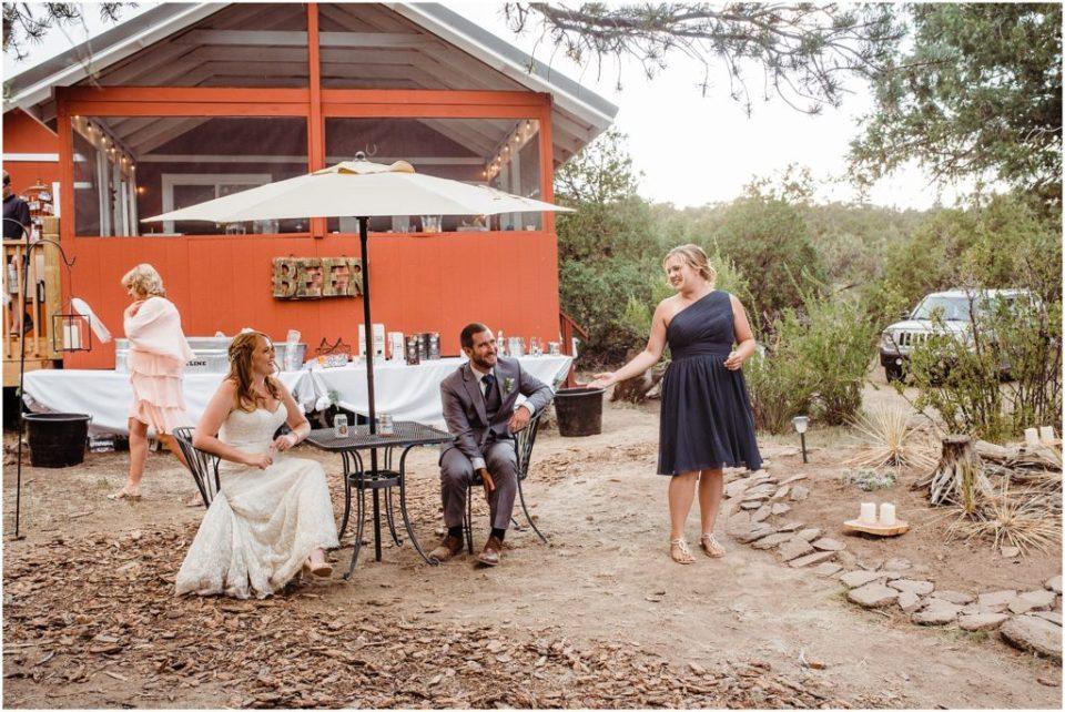 maid of honor outdoor wedding reception toast