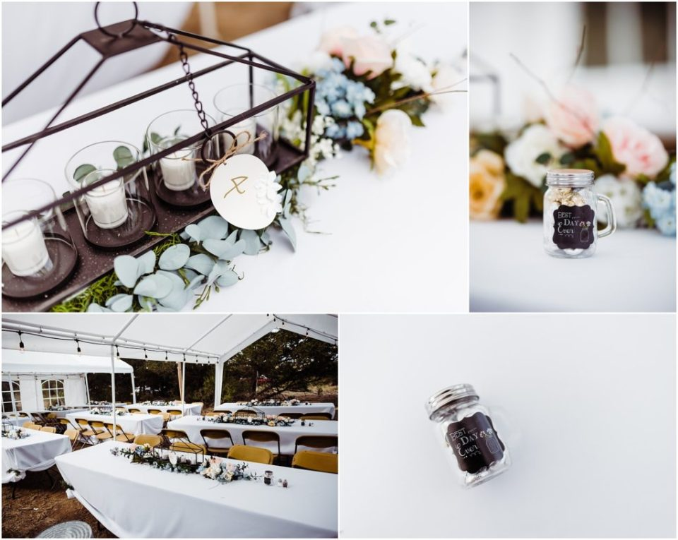 mountain cabin backyard wedding reception