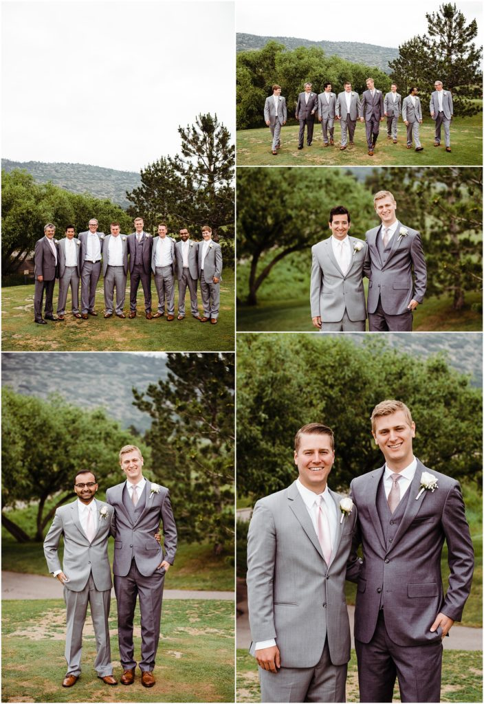 pink and gray wedding party photos