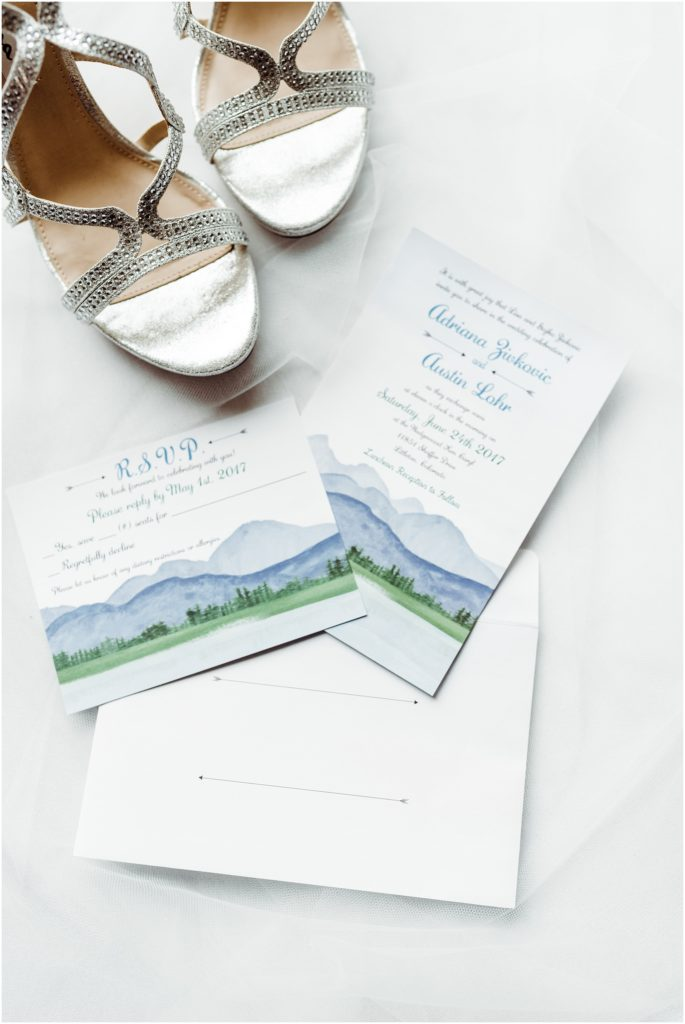navy blue and mountain themed wedding invitation suite
