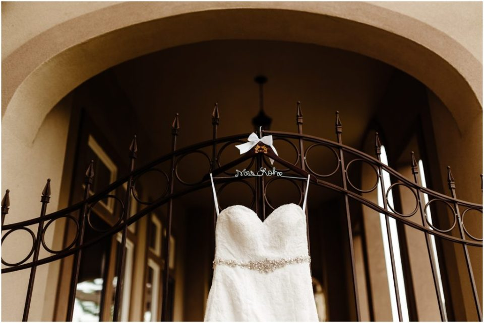 bridal gown hanging up at wedgewood ken caryl