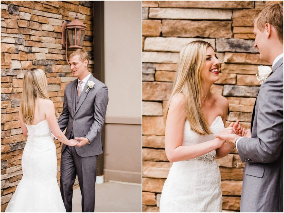couple sharing a first look on wedding day