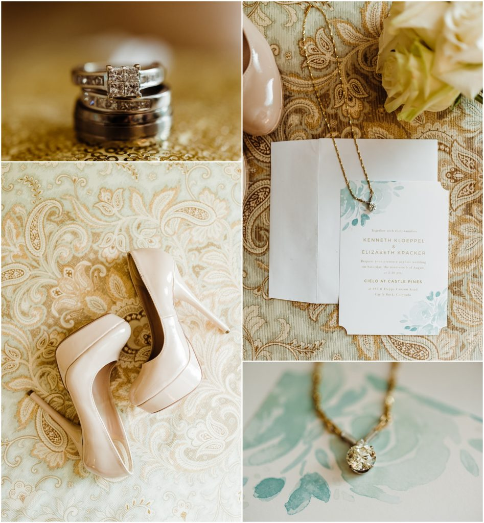 mint and gold bridal details