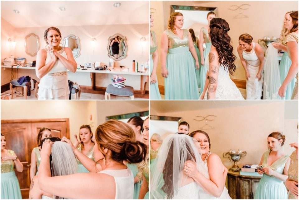 mother of the bride helping her get dressed