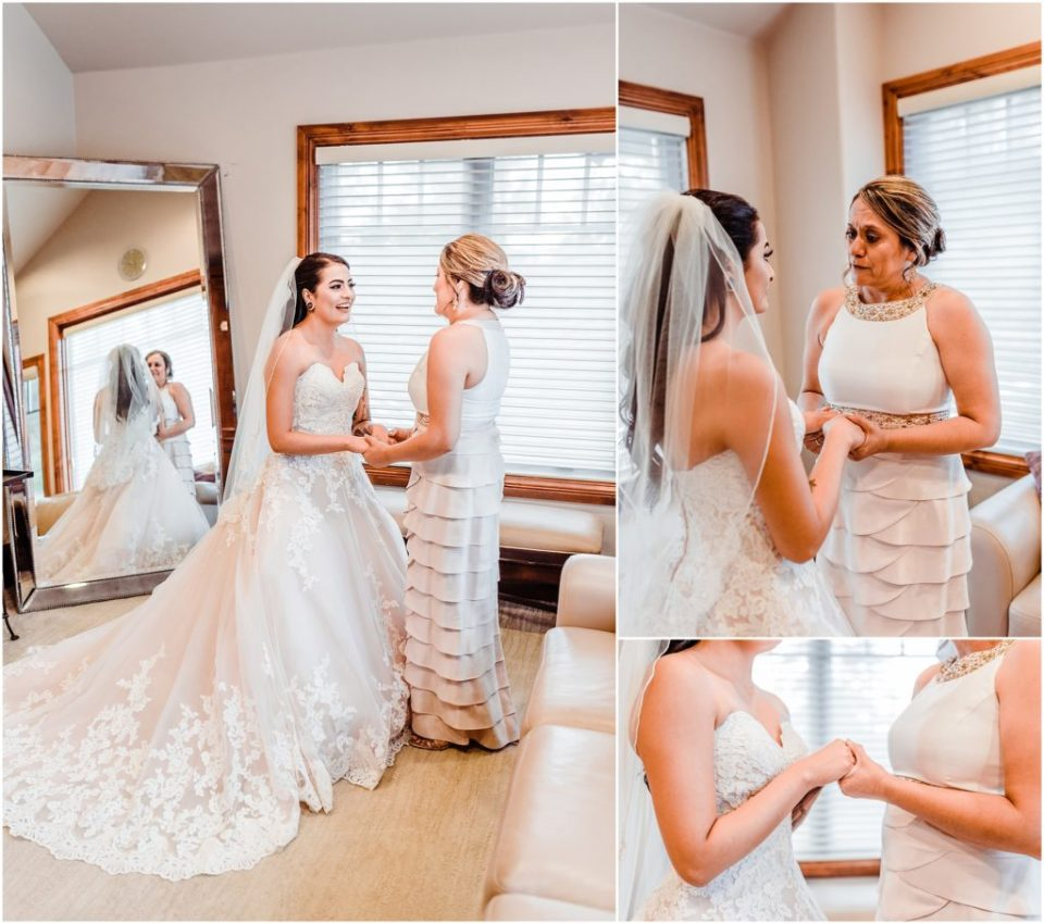 bride with her mom on her wedding day