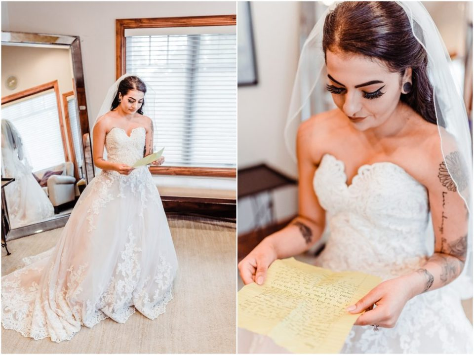 bride reading letter from fiancé