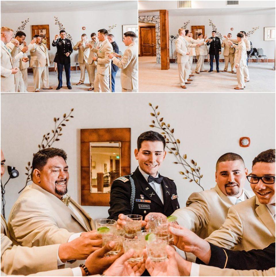 groomsmen taking shots before the wedding