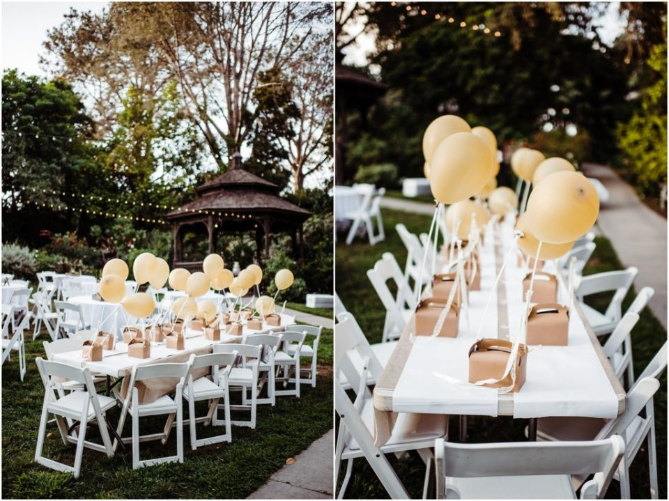 kids table with gold balloons