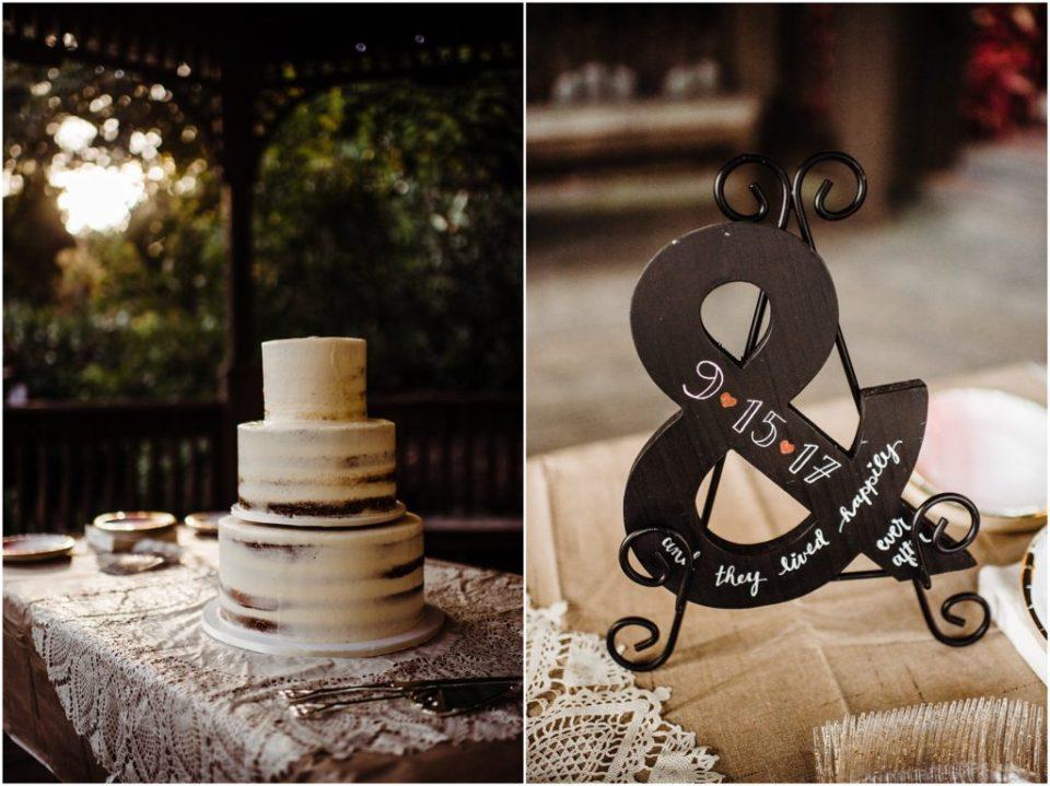 naked wedding cake details