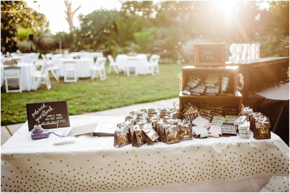 guest welcome table with favors