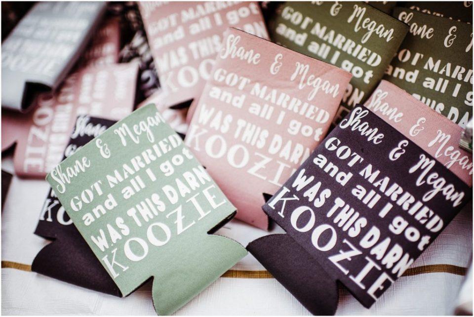 customized wedding koozies