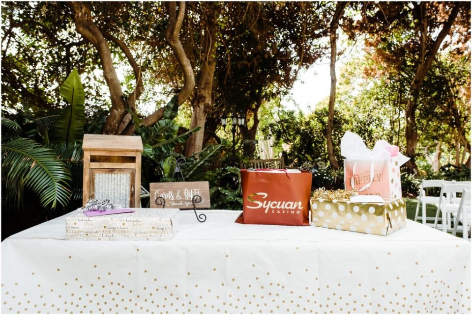 gift card table at wedding ceremony