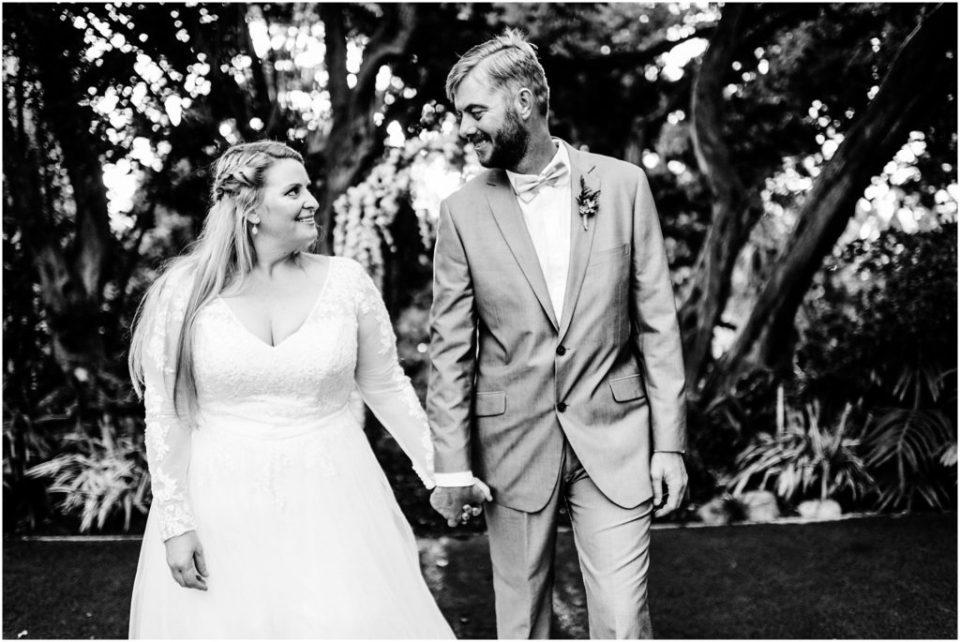 black and white boho wedding portrait