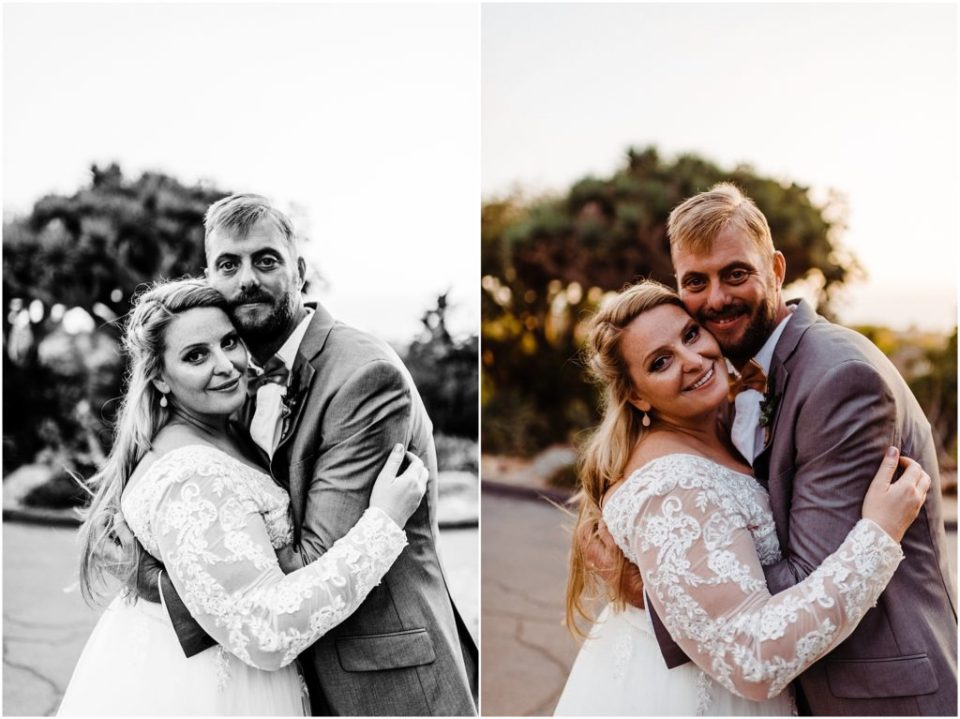 san diego botanic garden wedding portraits with the ocean in the background