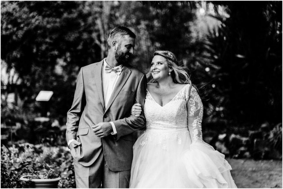 iconic black and white unposed wedding portrait