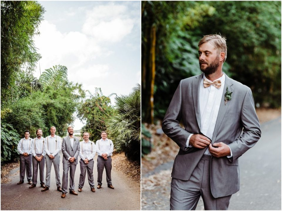 groomsmen at botanic garden in encinitas