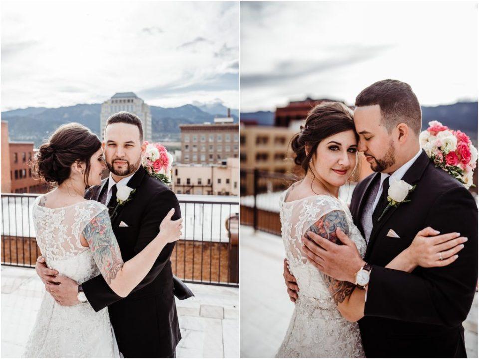 mining exchange rooftop wedding photos