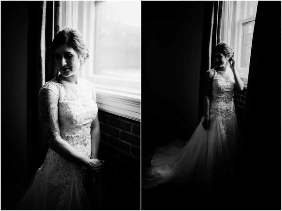 moody window light bridal portrait
