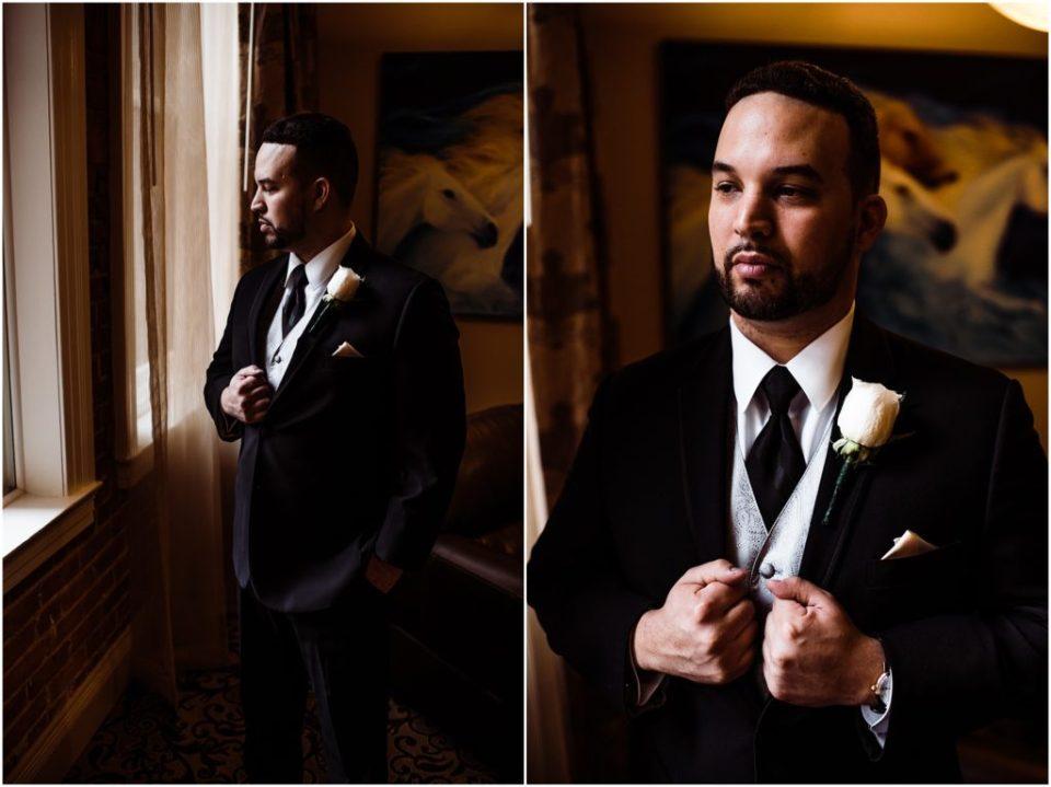 moody window light groom portrait