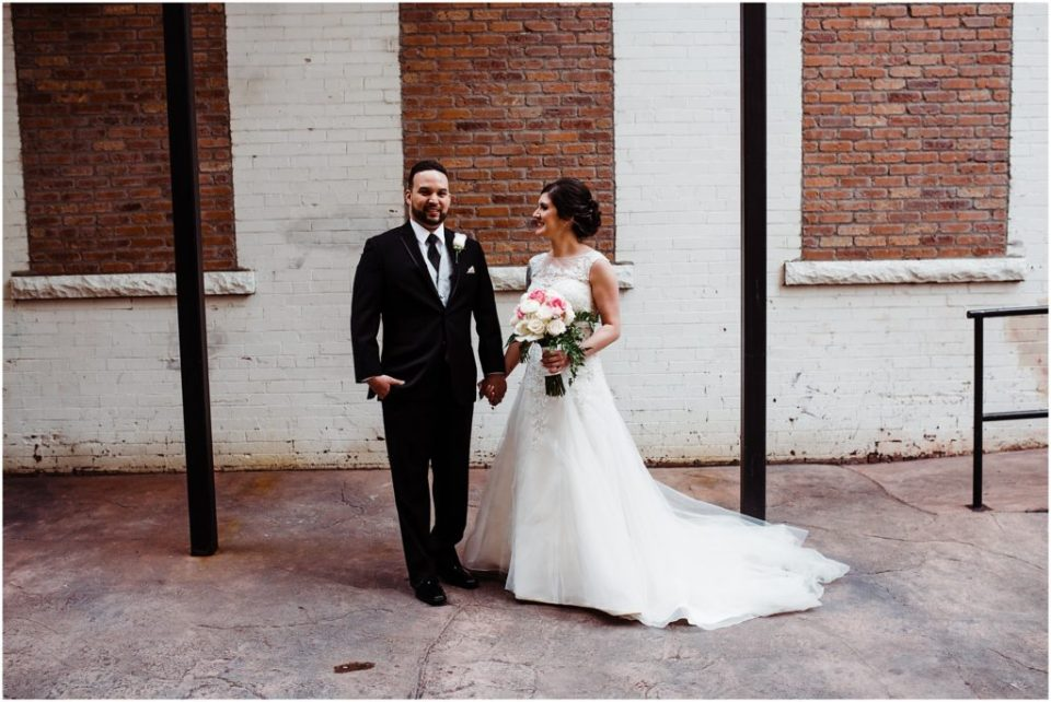 wedding first look in the alleyway at the mining exchange colorado springs