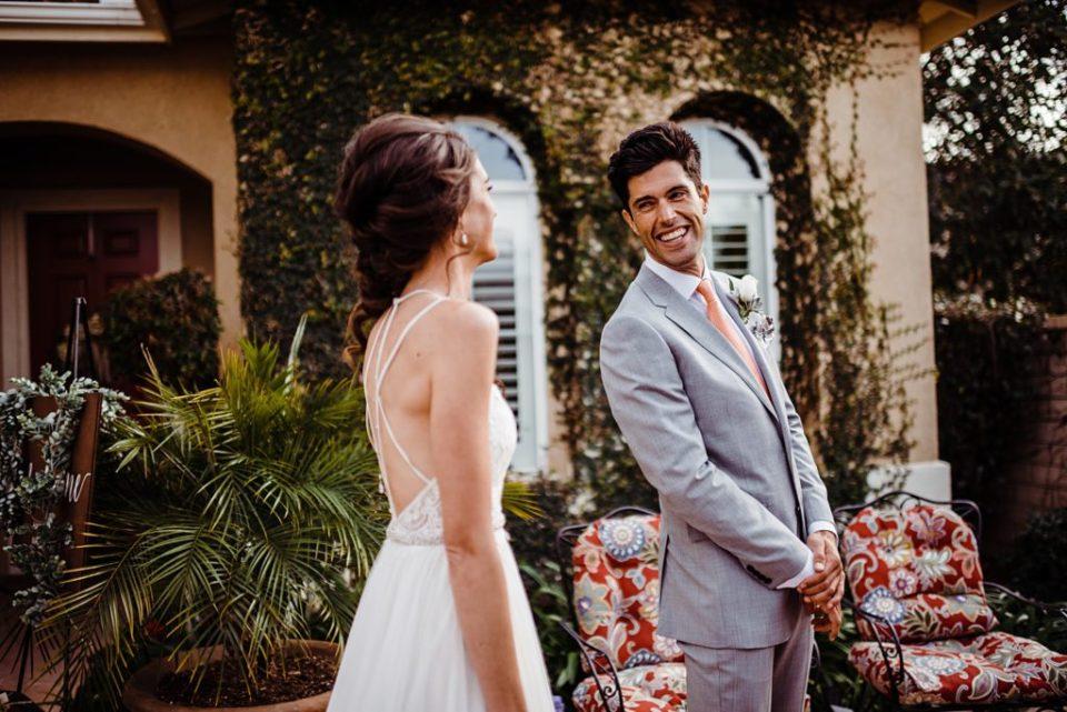 first look for a backyard wedding