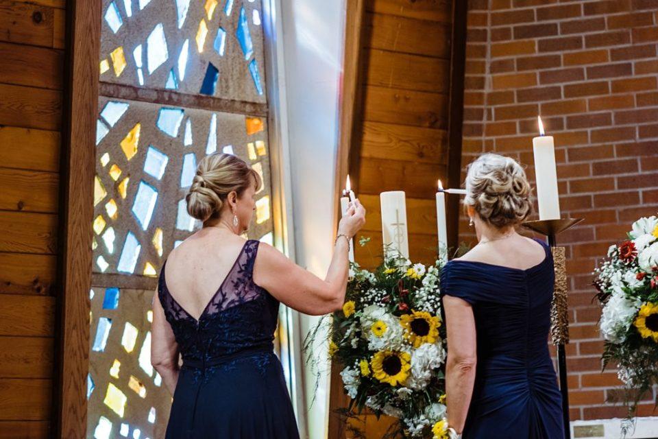 mothers lighting wedding unity candle