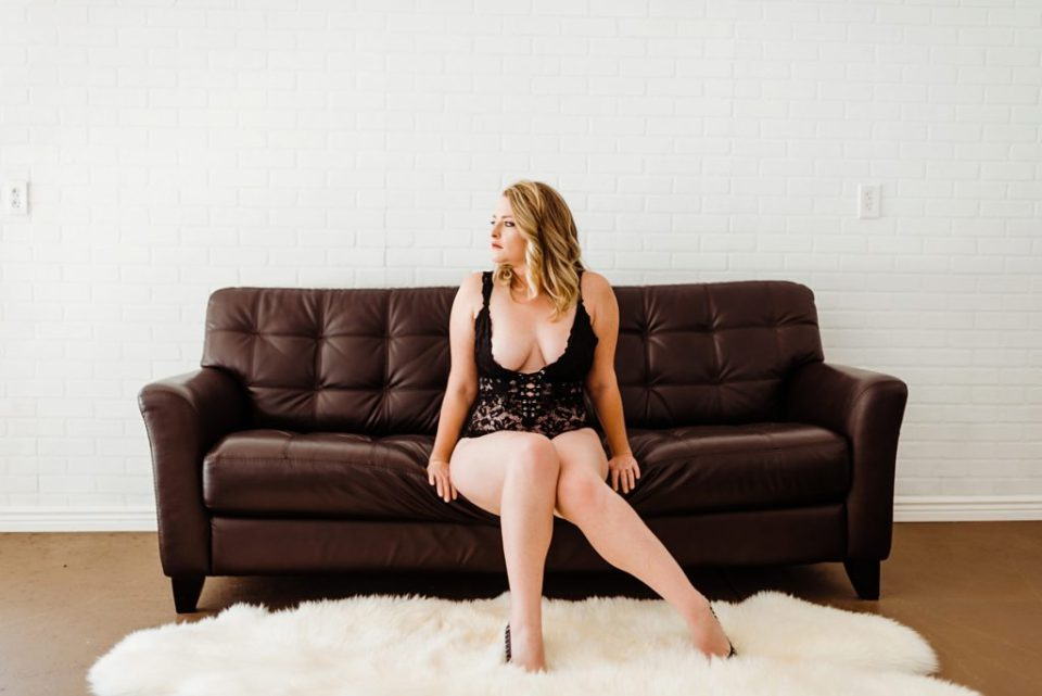 boudoir on a leather couch