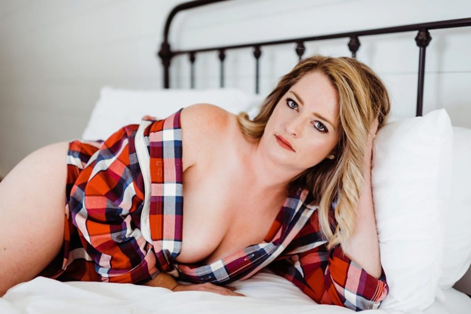 boudoir with a flannel shirt