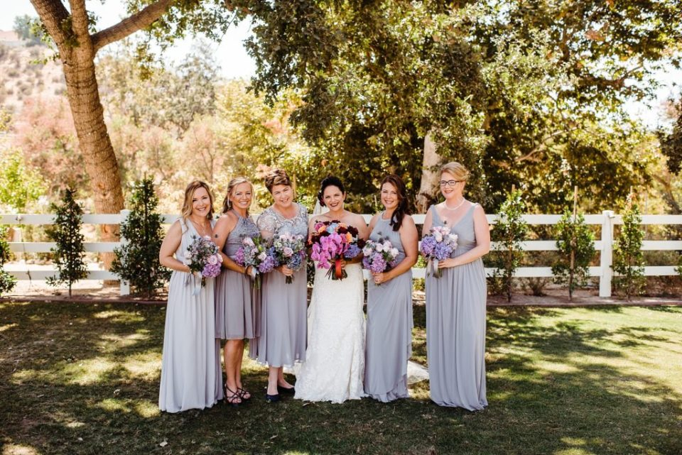 gray and maroon wedding party