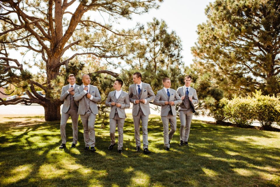groomsmen party photos at peterson afb wedding